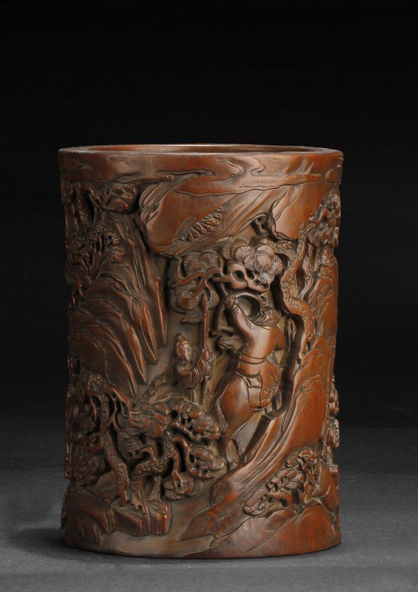 A FINELY CARVED HARDWOOD BRUSH POT