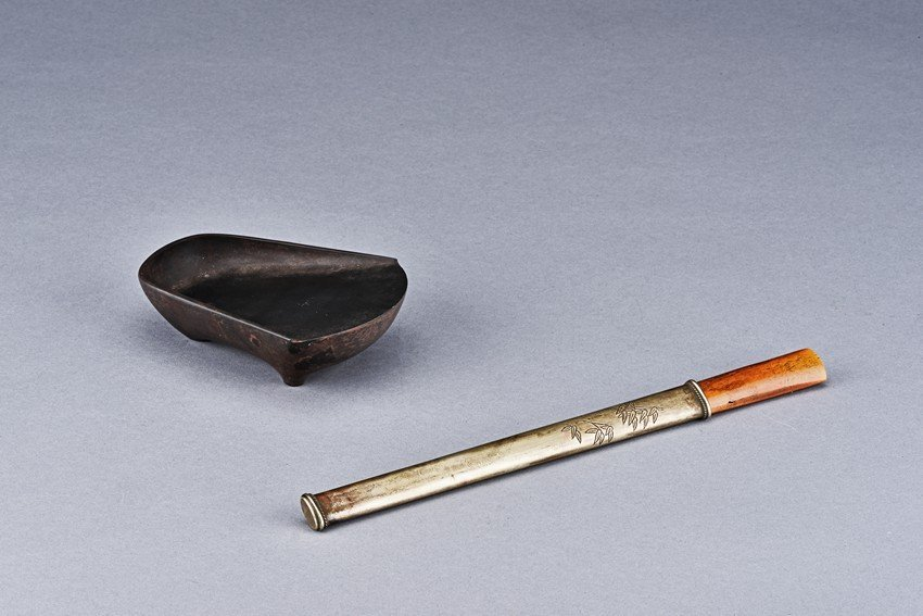 A 'ROOF TILE' INK STONE AND BRONZE KNIFE
