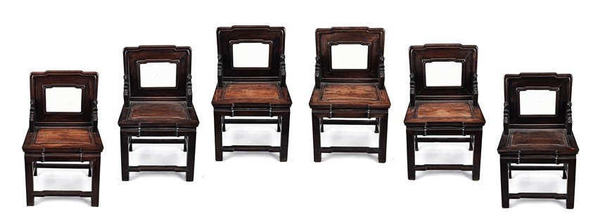 SIX FINE SUANZHI WOOD CHAIRS INSET WITH MARBLE