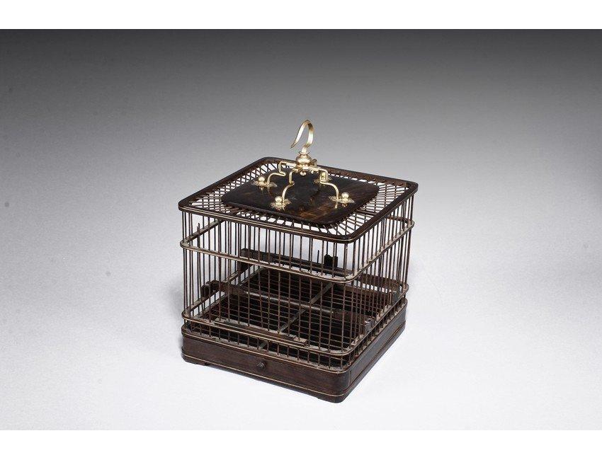 A SQUARE HONGMU BIRD CAGE