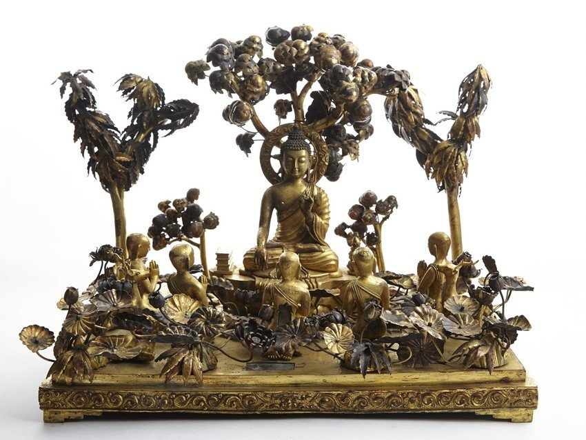 A GILT BRONZE STATUE OF SHAKYAMUNI TEACHING UNDER BODHI