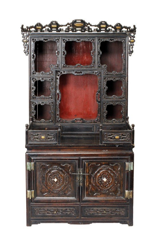 ROSEWOOD ALTAR CABINET FOR BUDDHA STATUES