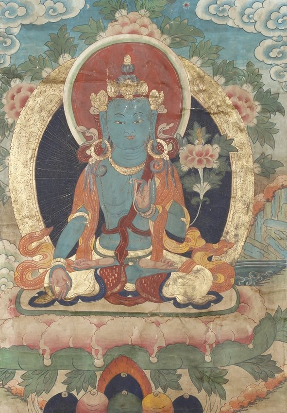 A TIBETAN THANGKA OF AKSHOBHYA