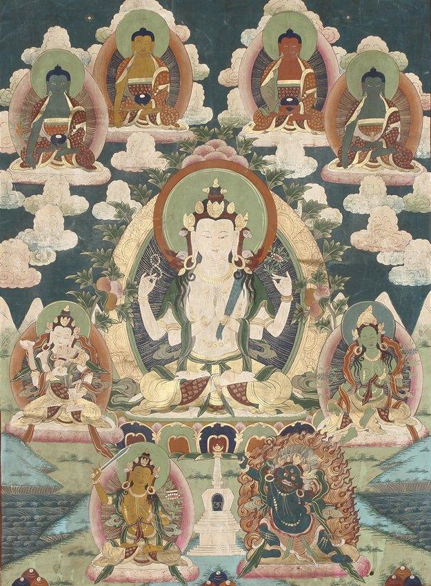A TIBETAN THANGKA OF SHADAKSHARI LOKESHVARA