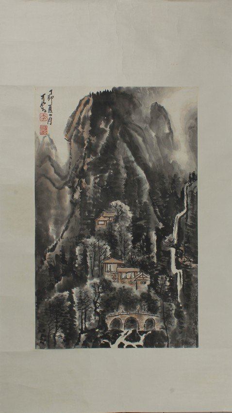 AN INK ON PAPER PAINTING 'MOUNTAIN SCENE'