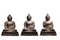 THREE BRONZE STATUES OF BODHISATTVA