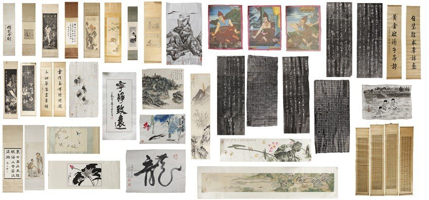 A GROUP OF 40+ PAINTINGS & CALLIGRAPHY SCROLLS