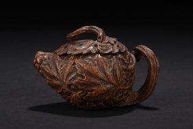 A Bamboo Root Carved Teapot
