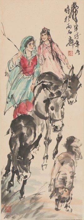 Huang Zhou: Color & Ink On Paper 'herding Donkeys'