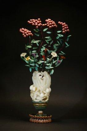 A White Jade Finger Citron Turquoise Coral Flower Vase
