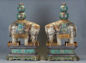 A Pair Of Cloisonne Enamel Elephants With Stands