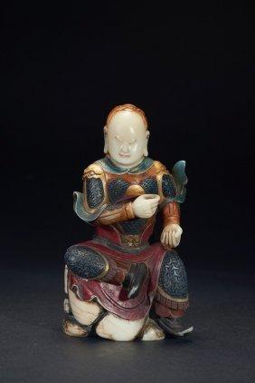 A Shoushan Stone Color Painted General Figure