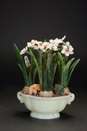 A White Jade And Jadeite Narcissus Planter