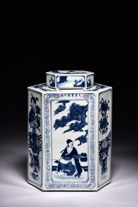 A Hexagonal 'figures' Blue And White Vase And Cover