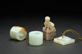 Two White Jade Archer's Rings With Two Seals
