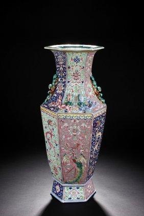 A Large Carved Famille Rose Hexagonal Vase