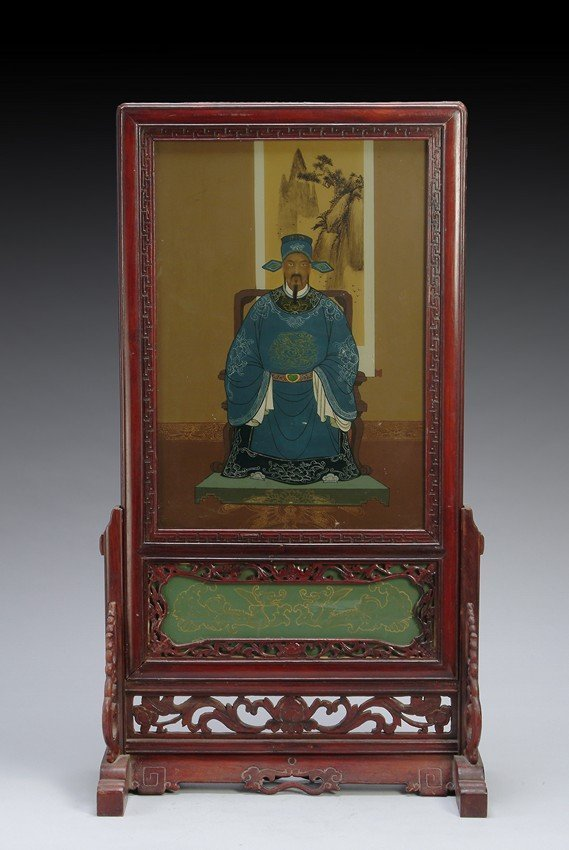 A CHINESE REVERSE PAINTED TABLE SCREEN