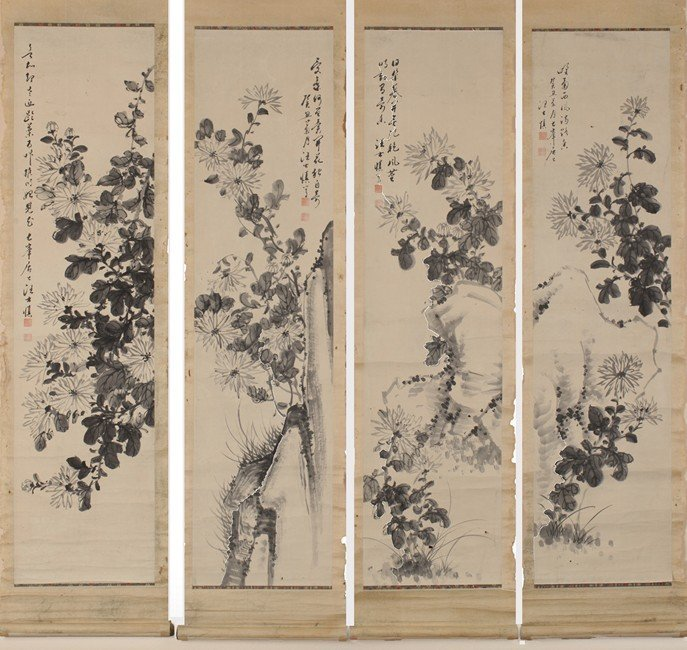 A SET OF FOUR CHINESE INK PAINTINGS OF FLOWERS