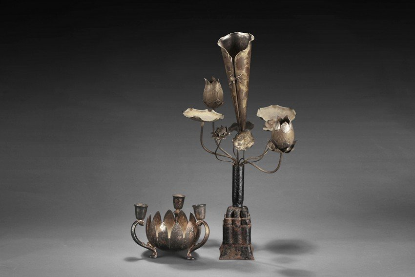 TWO SILVER 'LOTUS FLOWER' CANDLE HOLDERS
