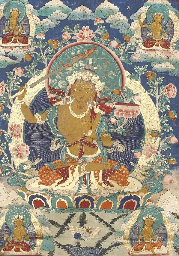 A TIBETAN THANGKA OF MANJUSHRI