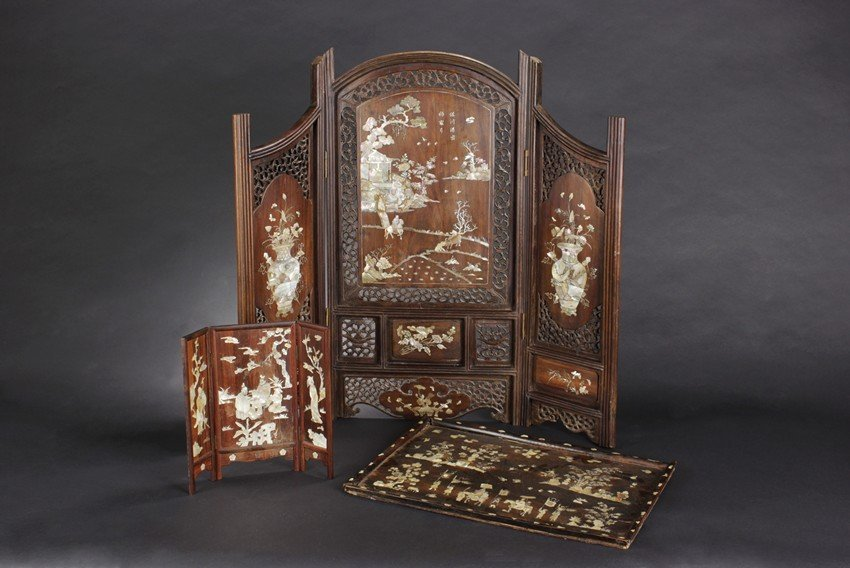A SET OF ROSEWOOD MOTHER-OF-PEARL SCREENS AND TRAY