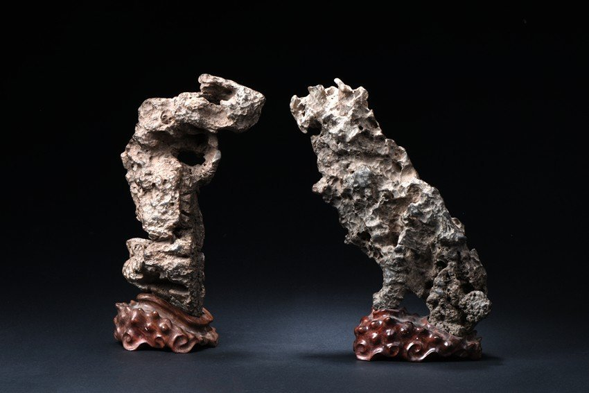 A SET OF TWO LINGBI SCHOLAR'S ROCKS