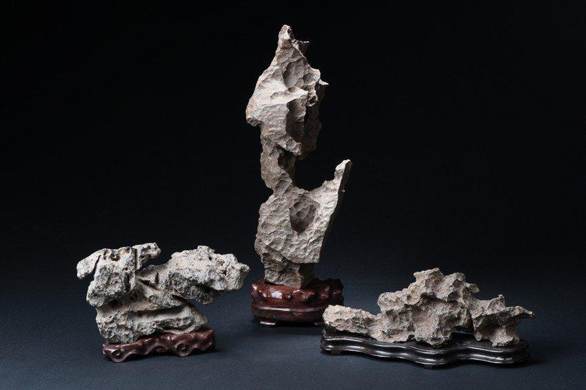 A SET OF THREE LINGBI SCHOLAR'S ROCKS