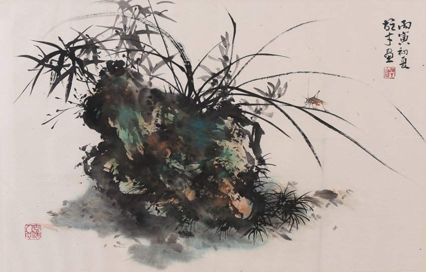 LI XIONGCAI: COLOR AND INK ON PAPER 'ORCHID' PAINTING