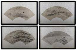 A SET OF FOUR LANDSCAPE FAN PAINTINGS