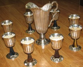 1001: BUCCELLATI STERLING SILVER   PITCHER & 8 GOBLETS