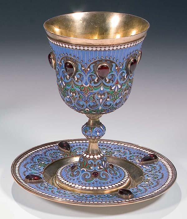 1010: RUSSIAN  ENAMELED SILVER GOBLET &  SAUCER