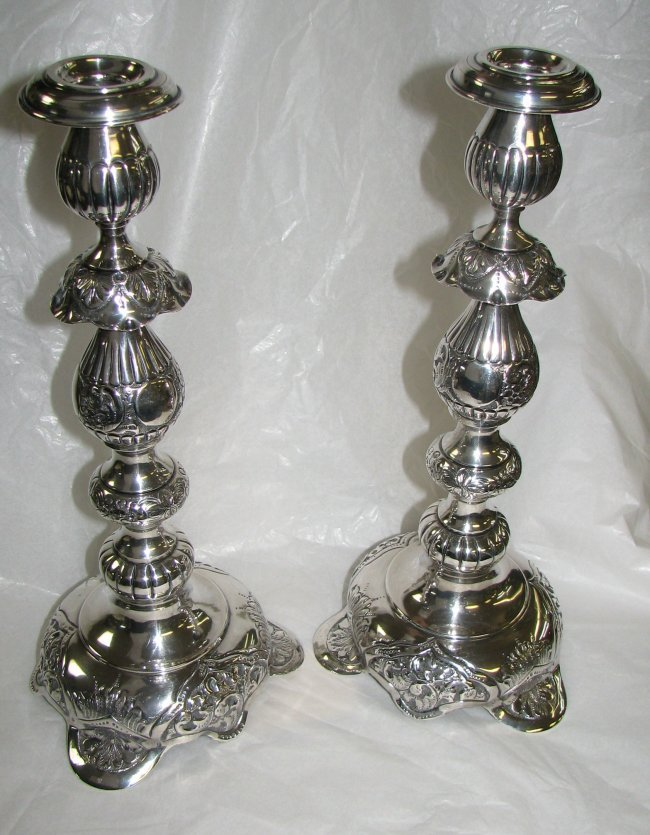 1072: PAIR  OF RUSSIAN  SILVER BAROQUE STYLE CANDLESTIC