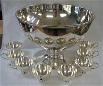1120: TIFFANY STERLING SILVER PUNCH BOWL & CUPS