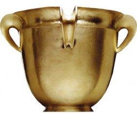 1002: PAMPALONI HAMMERED GILT STERLING WINE COOLER