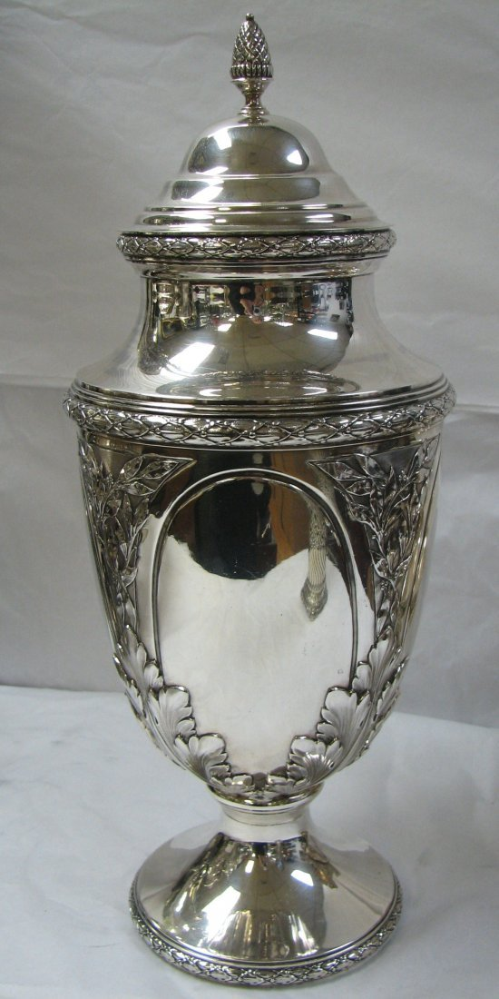 1015: FRENCH ROCOCO SILVER COVERED CUP 17 INCH