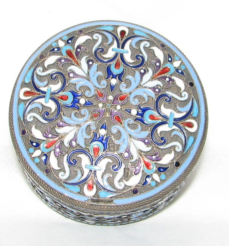 1019: RUSSIAN ENAMELED SILVER  ROUND BOX
