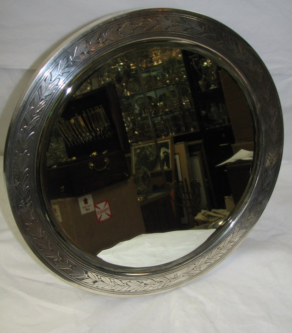 1021: TIFFANY STERLING SILVER TABLE MIRROR