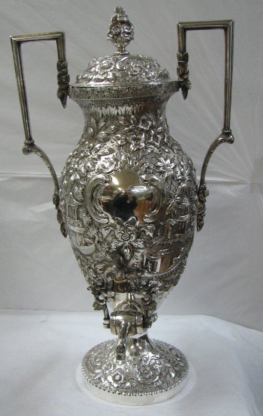 2: EARLY S. KIRK ARCHITECTURAL SILVER TEA URN SAMOVAR