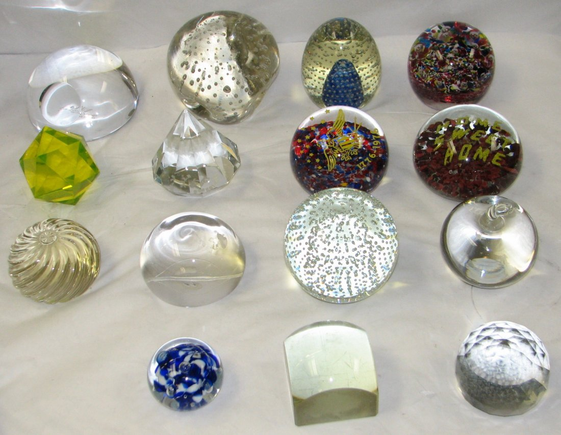 GROUP OF  15 GLASS PAPERWEIGHTS