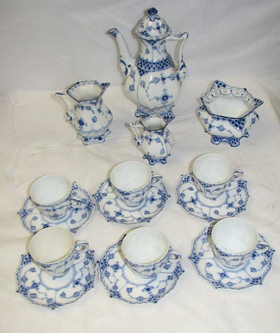 ROYAL COPENHAGEN BLUE FLUTED FULL LACE TEA SET