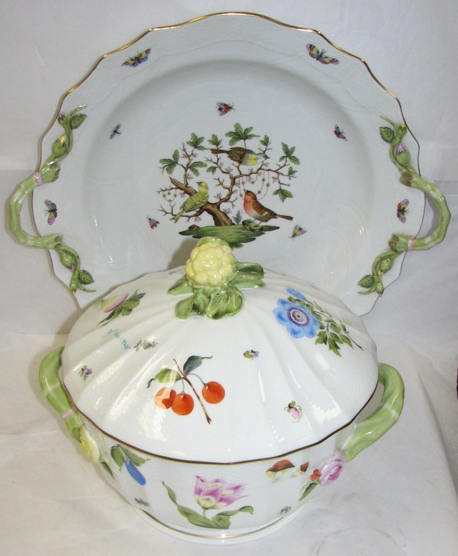 A HEREND 'FRUITS AND FLOWERS'  SOUP TUREEN & TRAY