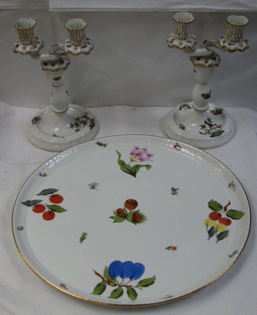 HEREND A HEREND FRUITS AND FLOWERS  CANDELABRA & TRAY