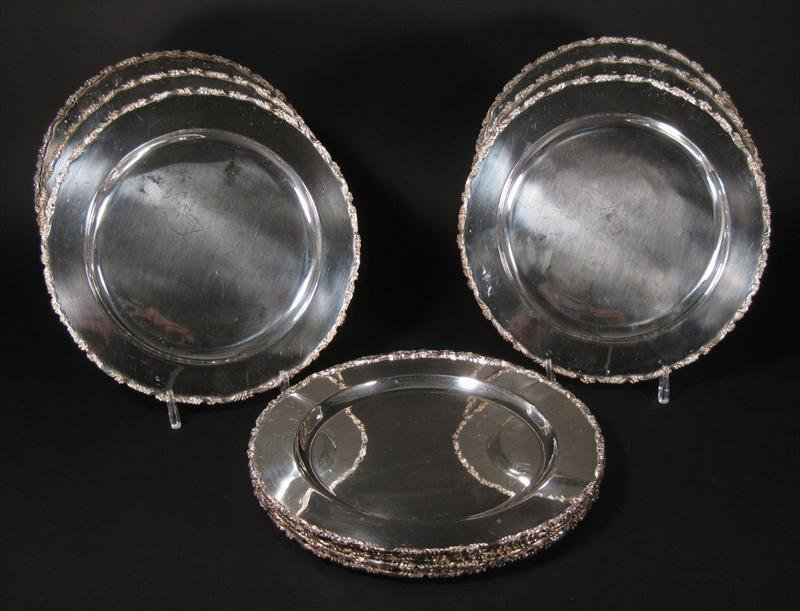Set of Twelve Mexican Silver Chargers  12 Inches