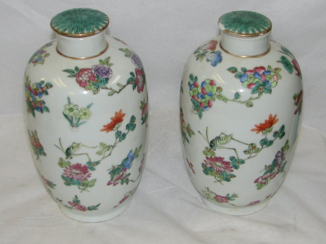 PAIR OF ORIENTAL COVERED URNS