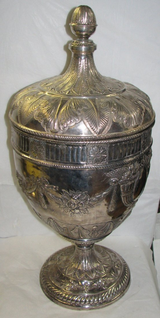 HUGE PALACE SIZE SILVER PLATE COVERED URN