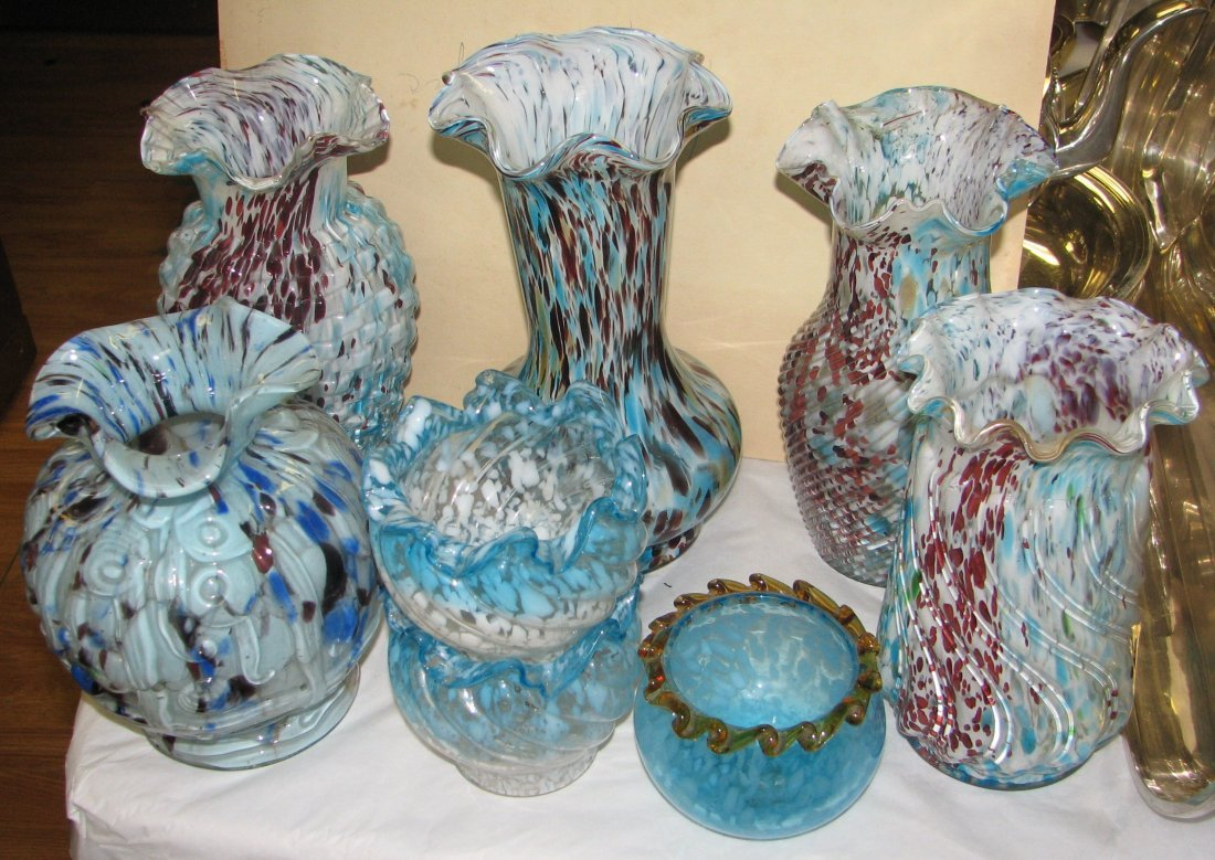 8 PC GROUP OF FRENCH ART GLASS VASES BORDEAUX