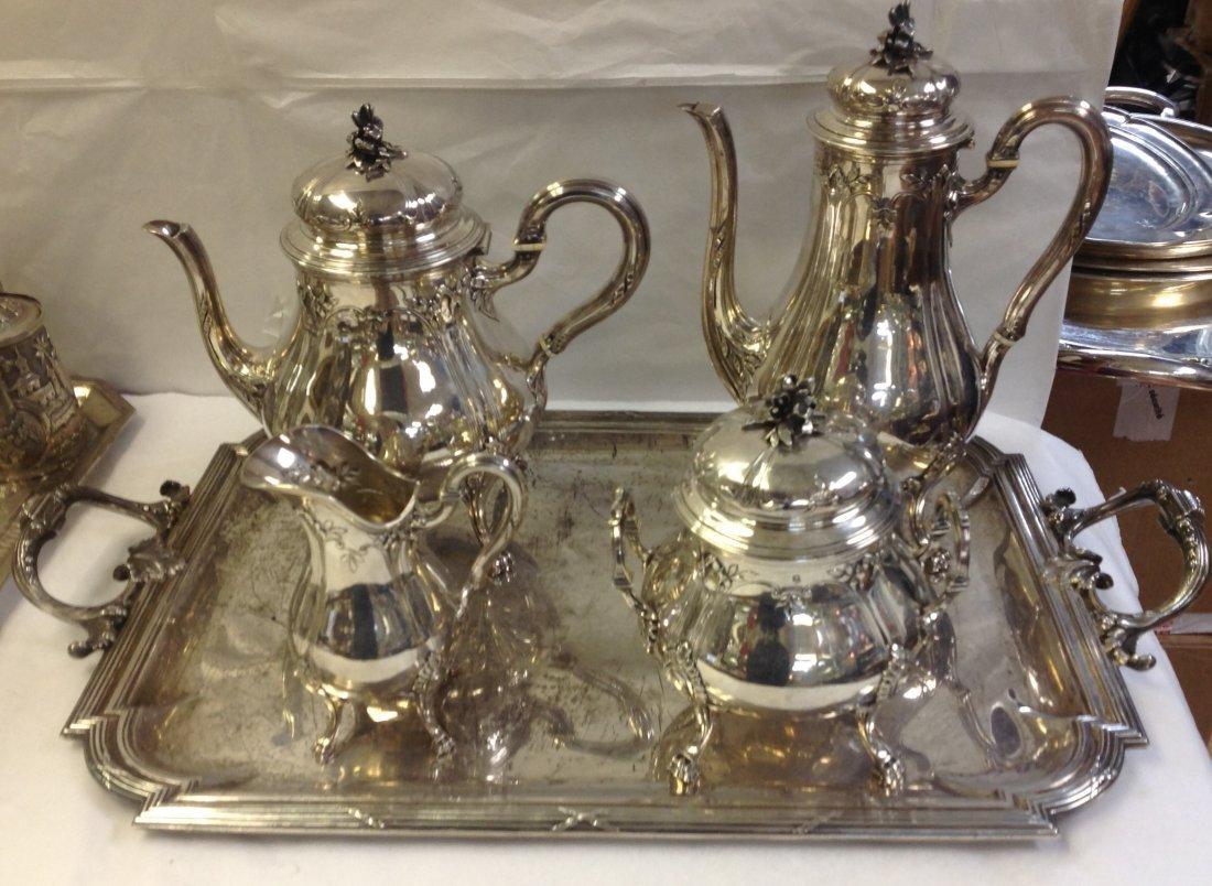 TETARD FRERES SILVER TEA & COFFEE SET WITH TRAY