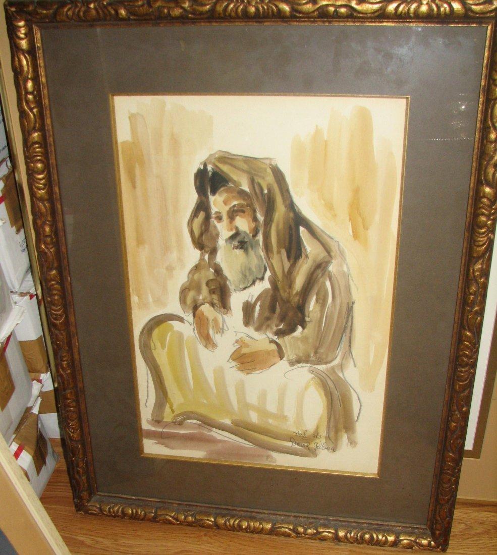 WATERCOLOR OF RABBI BY ISRAELI ARTIST DAVID GILBOA