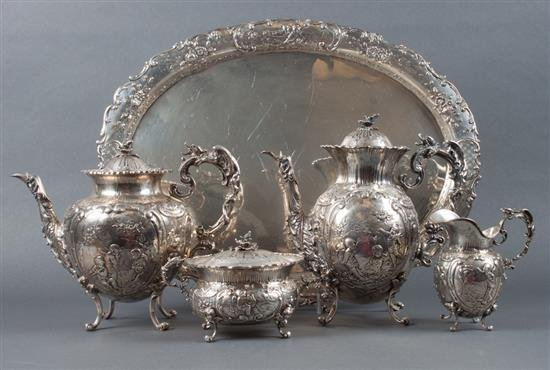 GERMAN SILVER FIGURAL TEA SET