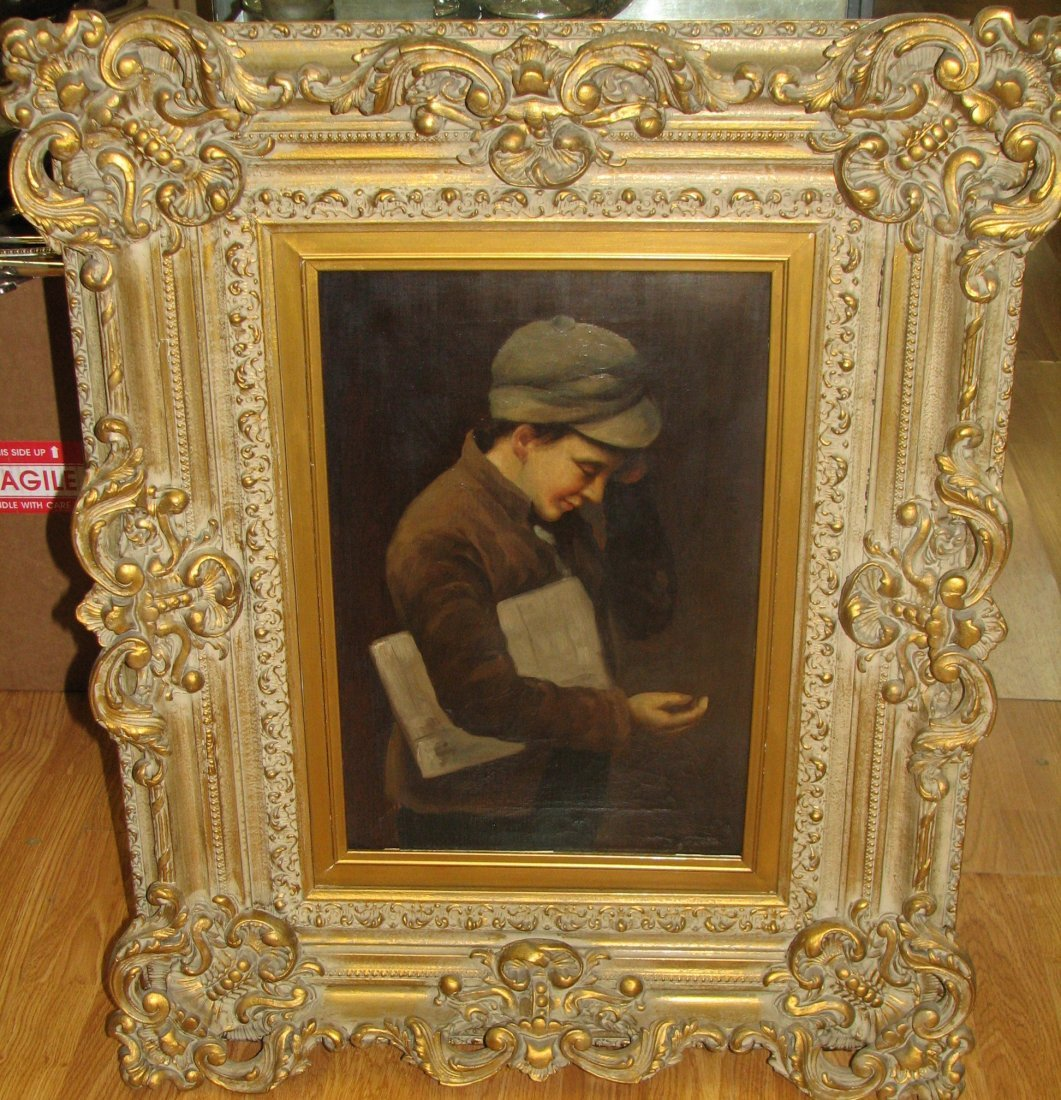 LARGE SIGNED OIL PAINTING OF YOUNG BOY J BROWN